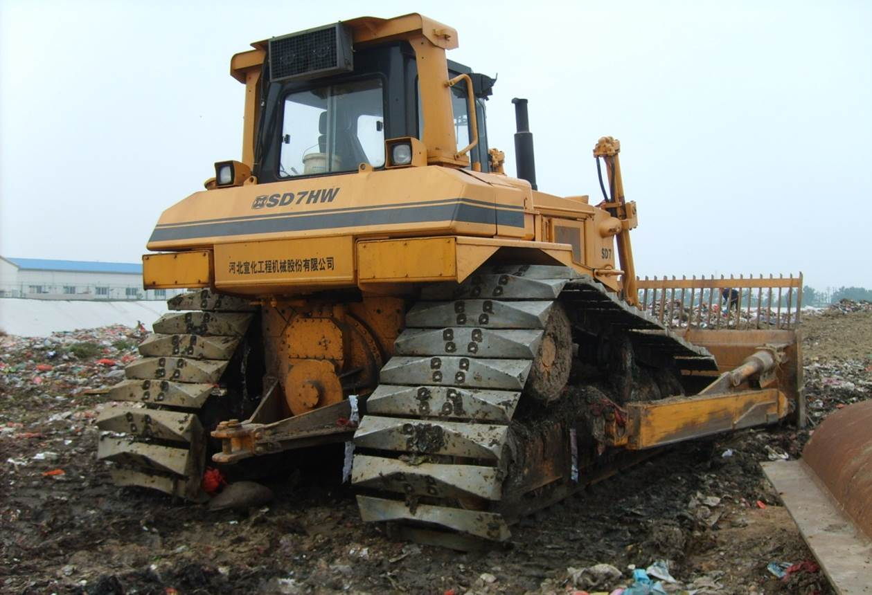 bulldozer  in solid waste